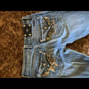 Size 28 Bootcut MissMe Jeans. Cowhide pockets